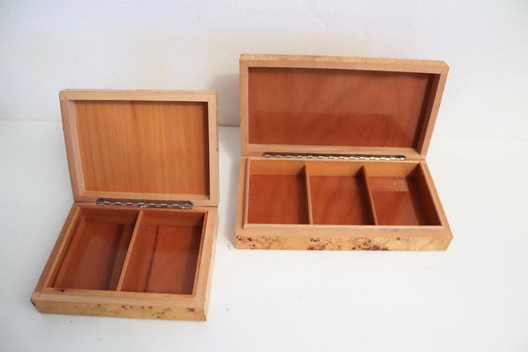 Tommaso Barbi Vintage Burl Wood Decorative Boxes, Italy 1970s, Set of Two For Sale 3