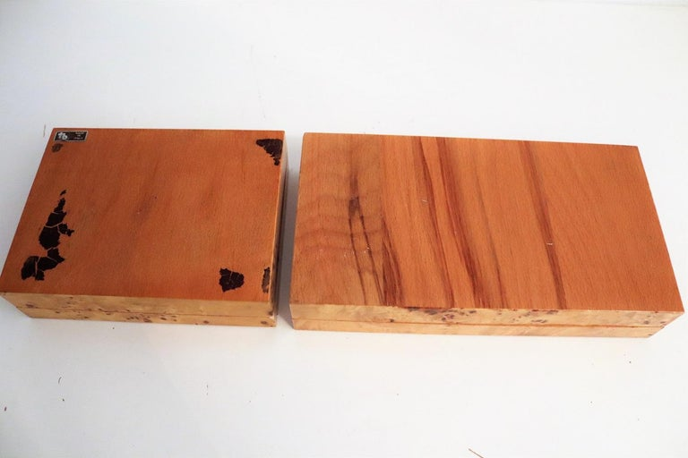 Tommaso Barbi Vintage Burl Wood Decorative Boxes, Italy 1970s, Set of Two For Sale 7