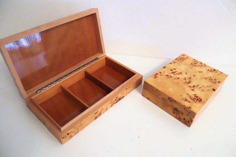 Mid-Century Modern Tommaso Barbi Vintage Burl Wood Decorative Boxes, Italy 1970s, Set of Two For Sale
