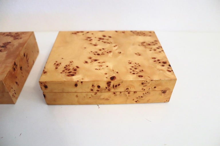 Tommaso Barbi Vintage Burl Wood Decorative Boxes, Italy 1970s, Set of Two In Good Condition For Sale In Clivio, Varese