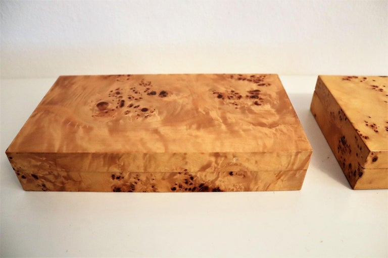 Beech Tommaso Barbi Vintage Burl Wood Decorative Boxes, Italy 1970s, Set of Two For Sale