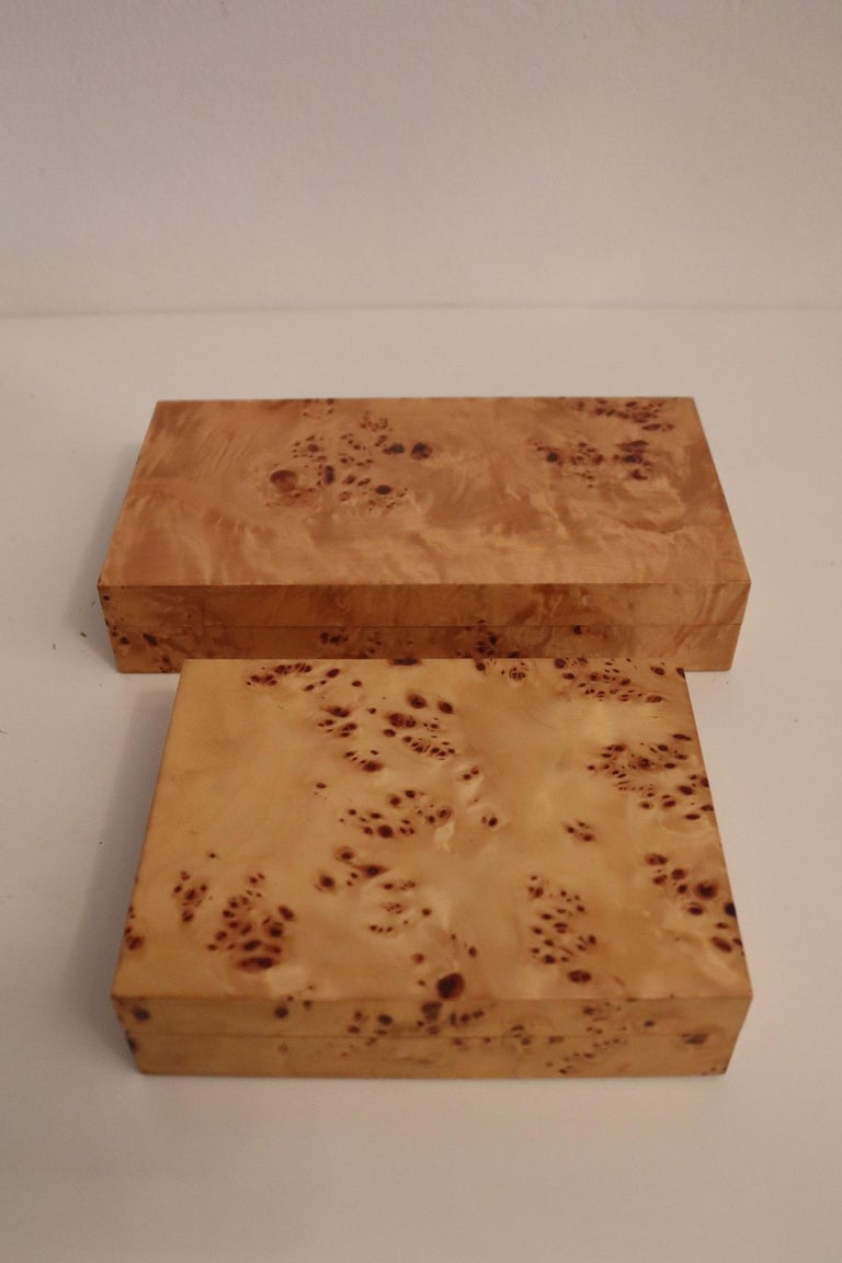 Tommaso Barbi Vintage Burl Wood Decorative Boxes, Italy 1970s, Set of Two For Sale 2
