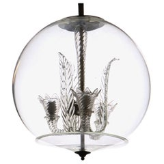 Tommaso Buzzi for Venini, Three Arms Chandelier Inside a Glass Sphere, 1930s