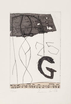 Musical Notes - Original Etching by Tommaso Cascella - 20th Century