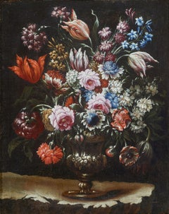 18th Century Tommaso Realfonso Still Life Flower Vase Oil on Canvas Red White