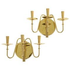 Tommi Parzinger 3 Arm Brass Sconces