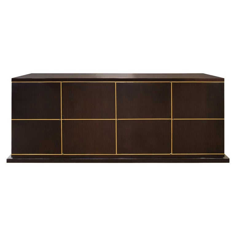 Tommi Parzinger Beautifully Crafted 4-Door Credenza, 1950s 'Signed' For Sale