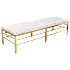 Tommi Parzinger Brass and Upholstered Mid-Century Modern Bench