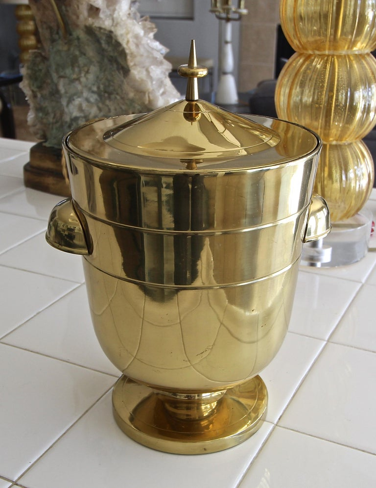 Italian Tommi Parzinger Brass Champagne Cooler or Ice Bucket For Sale