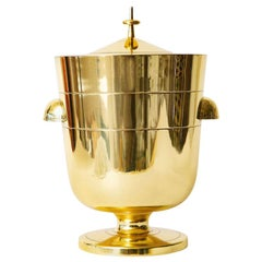 Tommi Parzinger Brass Ice and Champagne Bucket Mid-Century Modern Barware