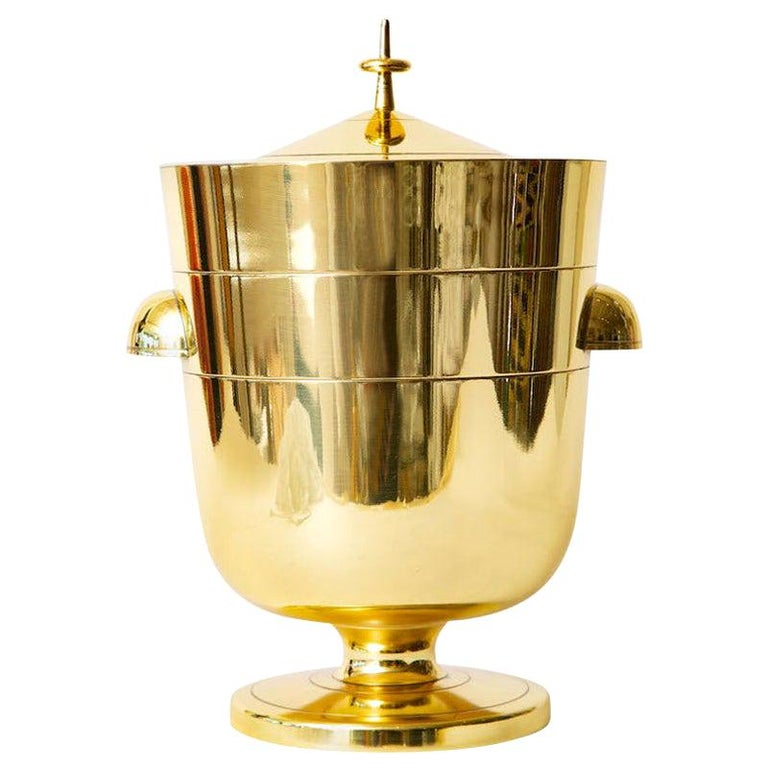 Tommi Parzinger Brass Ice and Champagne Bucket Mid-Century Modern Barware For Sale
