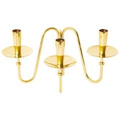 Tommi Parzinger Brass Three Arm Candlestick Mid-Century Modern
