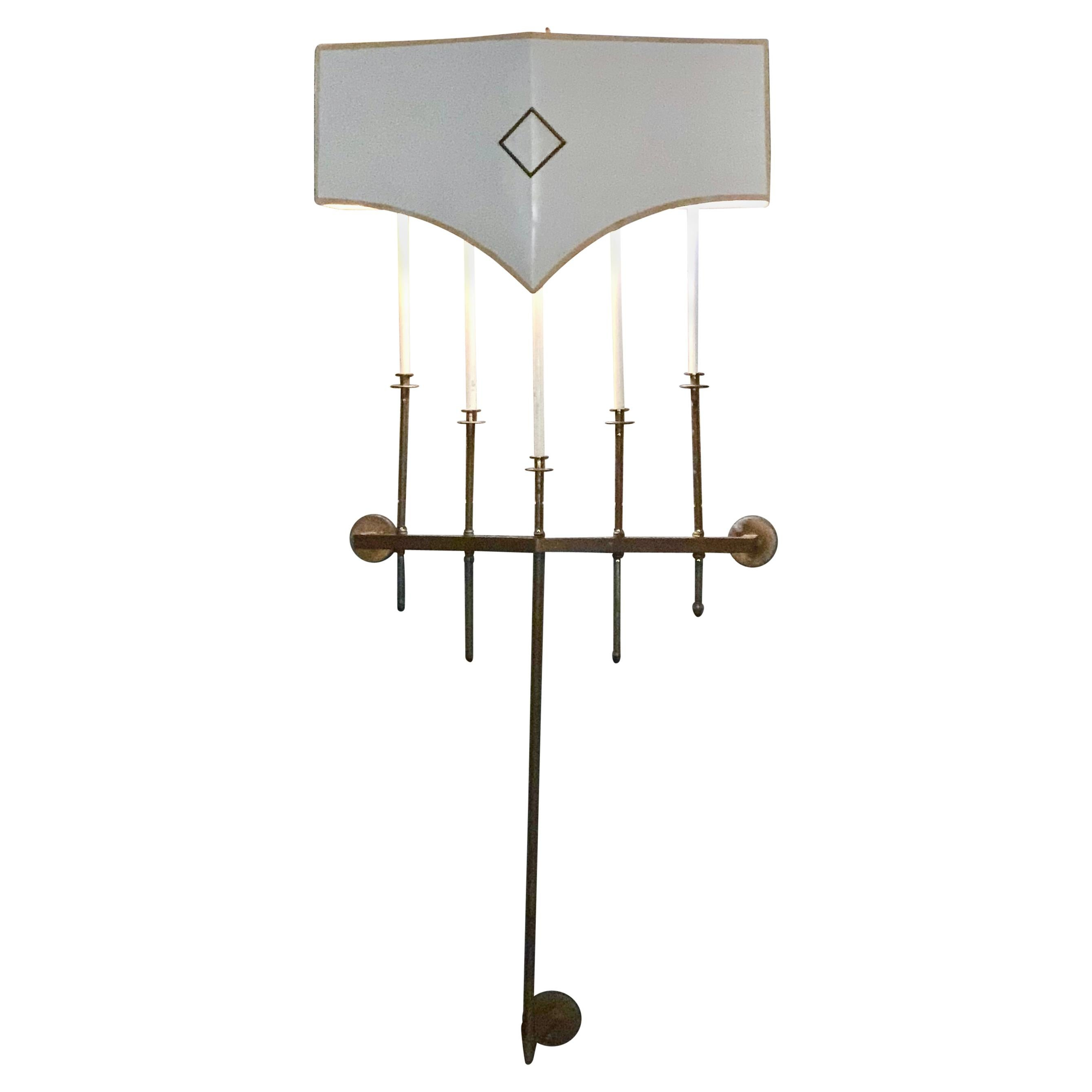 Tommi Parzinger Brass Wall Light Fixture Sconce Candelabra 1950s Modern Regency