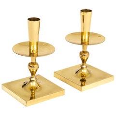 Tommi Parzinger Candlesticks, Brass, Signed, Dorlyn