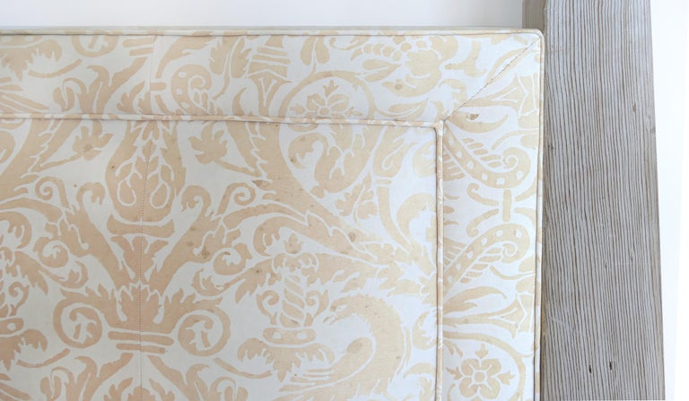 Tommi Parzinger Cerused Headboard with Fortuny Fabric, King Size In Good Condition For Sale In Miami, FL