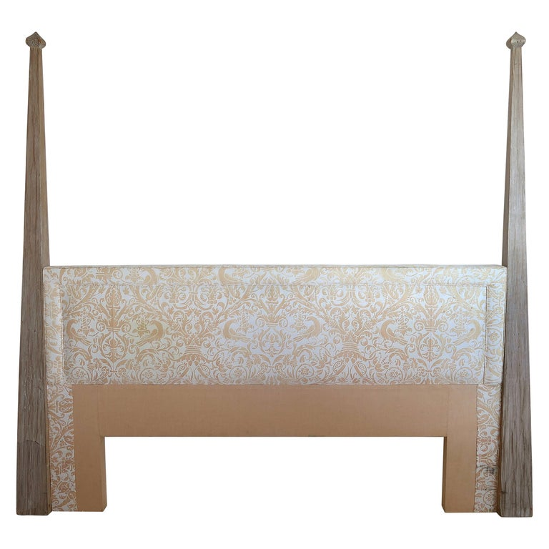 Tommi Parzinger Cerused Headboard with Fortuny Fabric, King Size For Sale