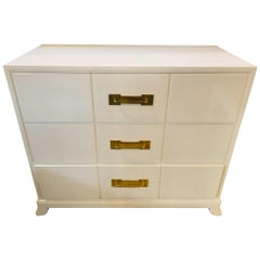 Tommi Parzinger / Charak Modern White Lacquered Hollywood Regency Chest Commode