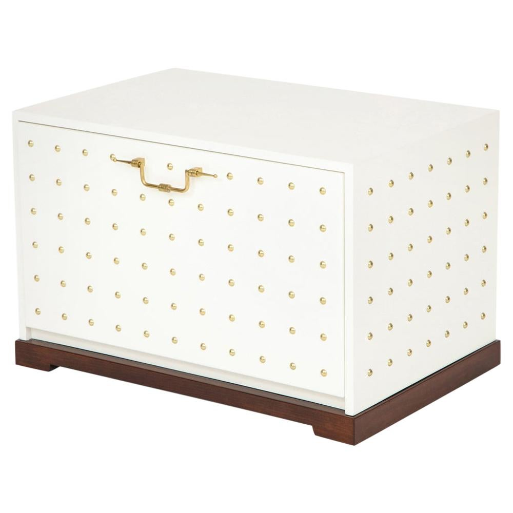 Tommi Parzinger Chest, White Lacquer and Brass Studded