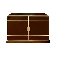 Tommi Parzinger Chic 2-Door Cabinet in Mahogany and Brass, 1950s