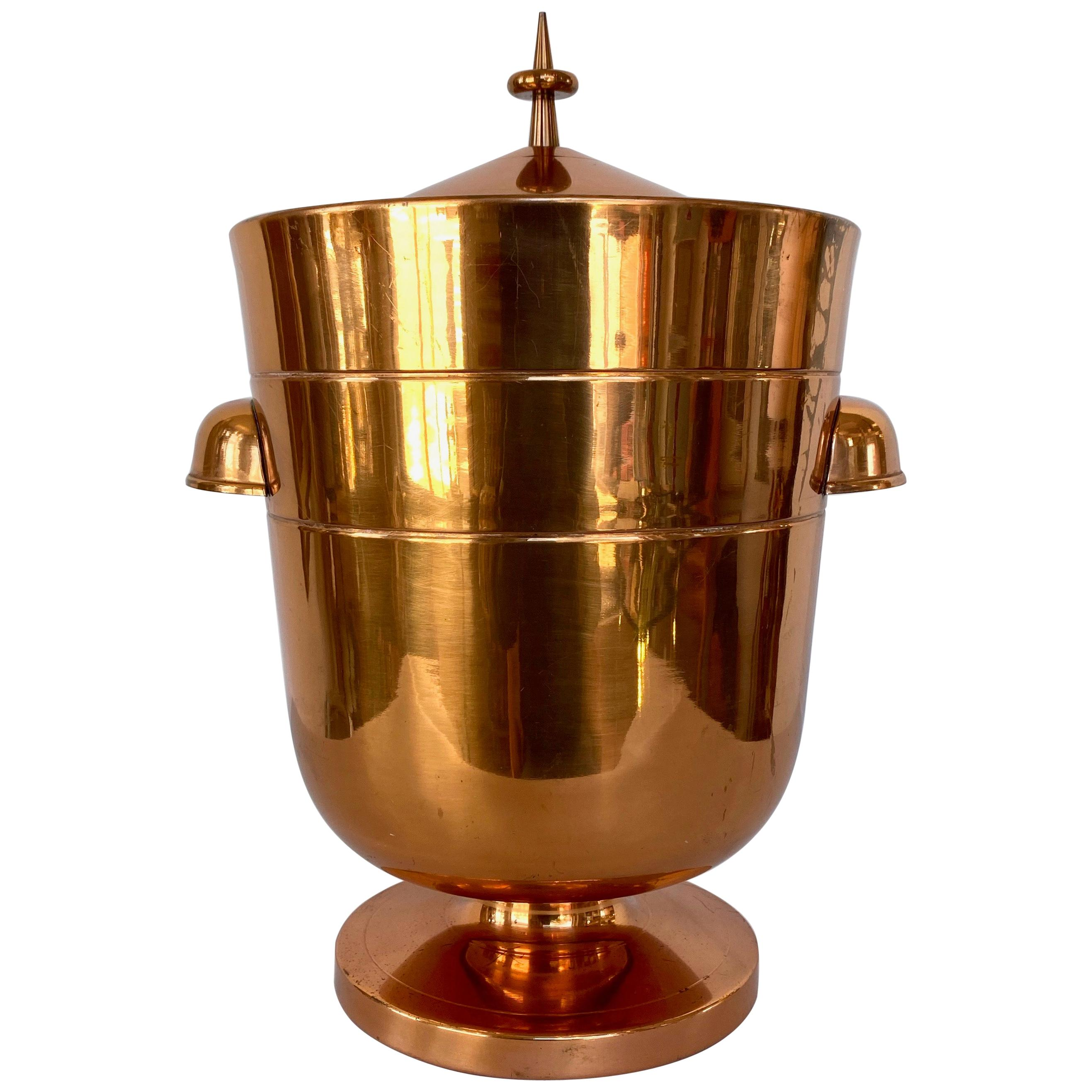 Tommi Parzinger Copper Ice Bucket or Champagne Cooler with Tongs, 1950s
