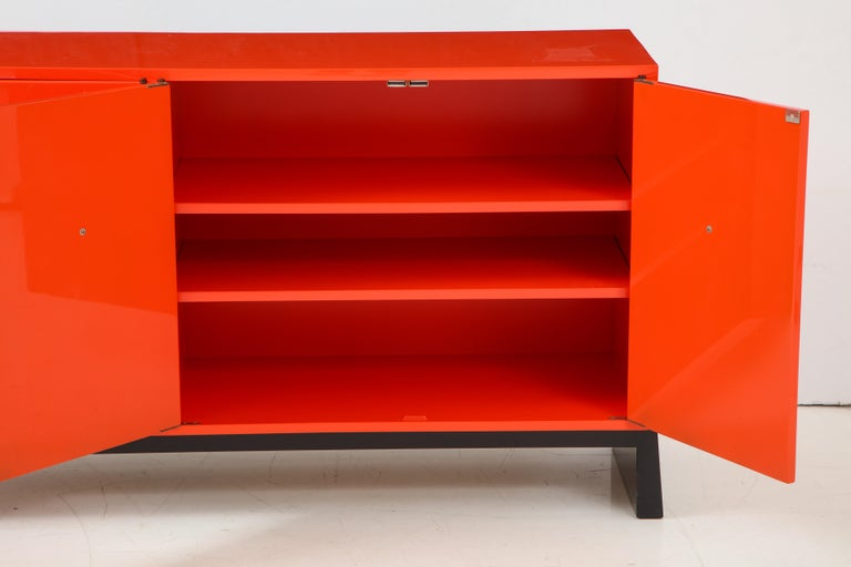 Tommi Parzinger Coral Lacquer Studded Credenza For Sale 3