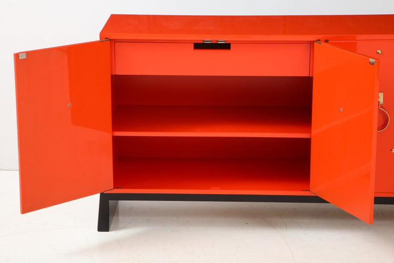 Tommi Parzinger Coral Lacquer Studded Credenza For Sale 4