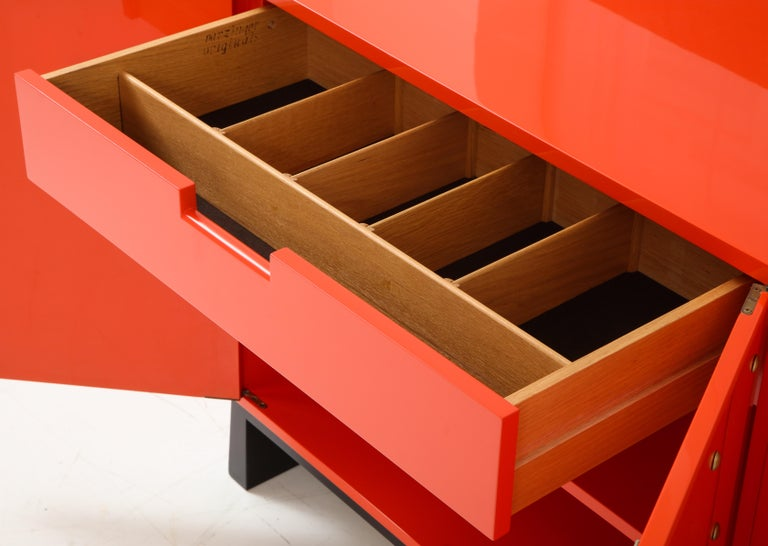 Tommi Parzinger Coral Lacquer Studded Credenza For Sale 5