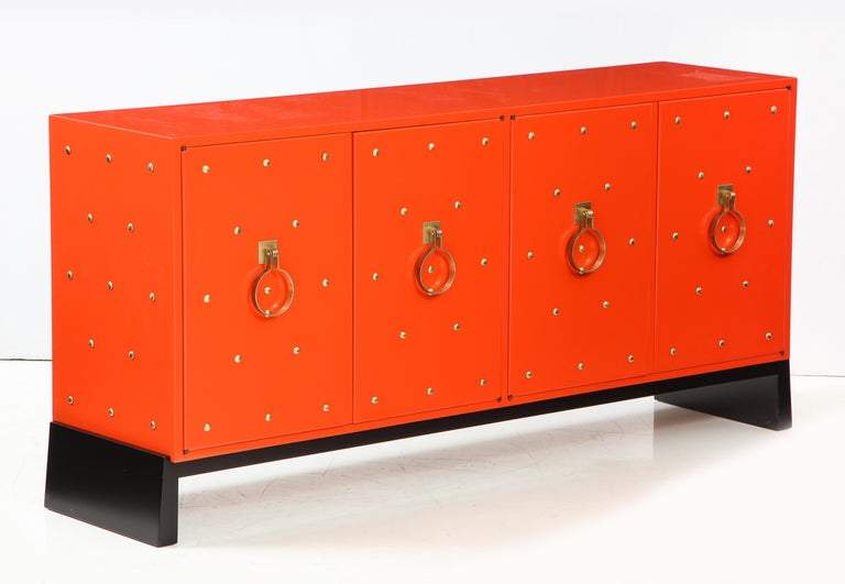 Mid-Century Modern Tommi Parzinger Coral Lacquer Studded Credenza For Sale