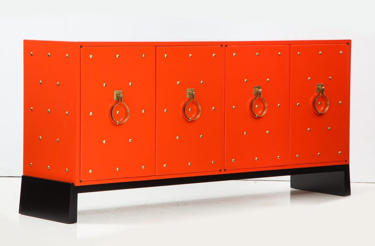American Tommi Parzinger Coral Lacquer Studded Credenza For Sale
