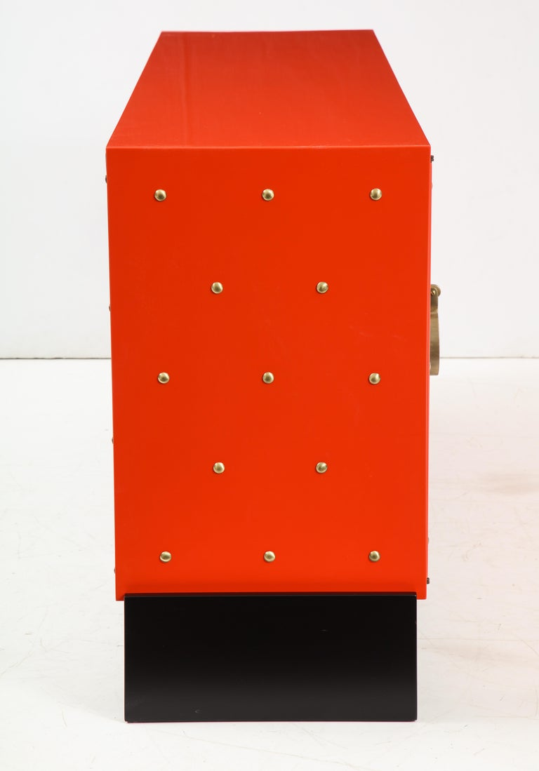 Tommi Parzinger Coral Lacquer Studded Credenza In Excellent Condition For Sale In New York, NY