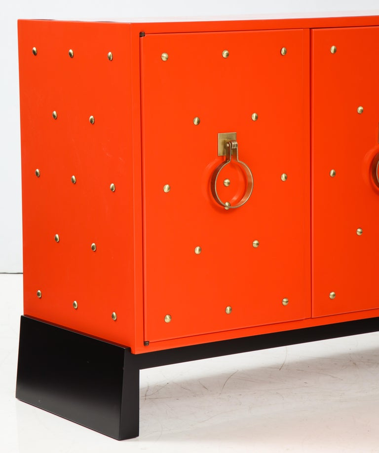 20th Century Tommi Parzinger Coral Lacquer Studded Credenza For Sale