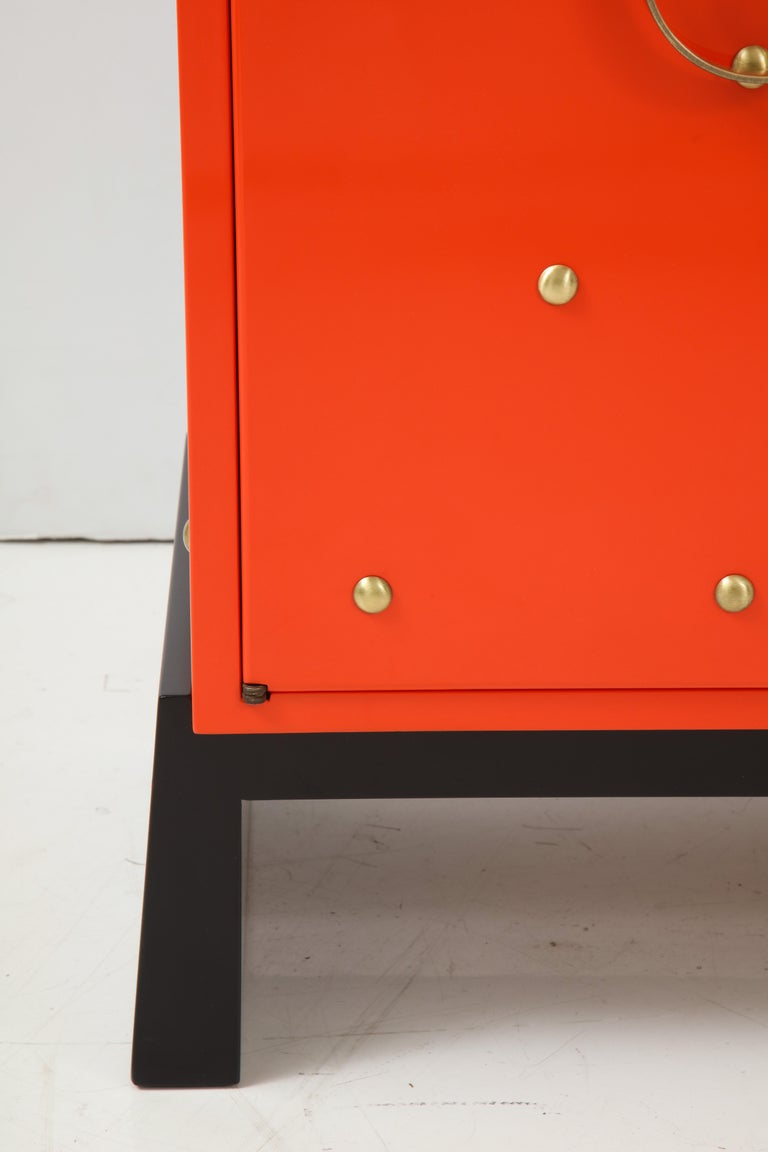 Brass Tommi Parzinger Coral Lacquer Studded Credenza For Sale