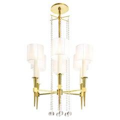 Tommi Parzinger Elegant 6 Arm Chandelier in Brass and Crystal 1950s