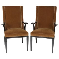 Tommi Parzinger Elegant Pair of Arm Chairs with Mohair Upholstery, 1950s
