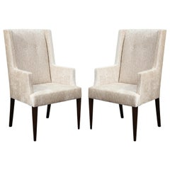 Tommi Parzinger Elegant Pair of Upholstered Arm Chairs, 1950s