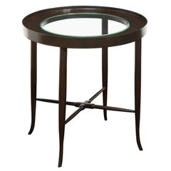 Tommi Parzinger Elegant Side Table with Inset Glass Top, 1950s