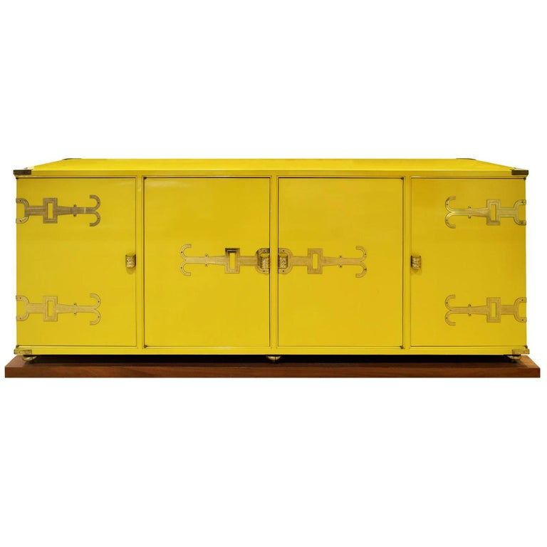 Tommi Parzinger Exquisite Credenza with Iconic Brass Hardware, 1950s For Sale