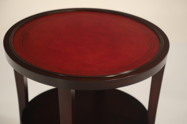 Tommi Parzinger for Charak Modern Mahogany and Burgundy Leather Side Table For Sale 4