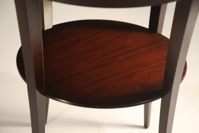 Tommi Parzinger for Charak Modern Mahogany and Burgundy Leather Side Table For Sale 5