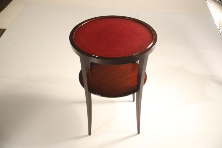 Tommi Parzinger for Charak Modern Mahogany and Burgundy Leather Side Table For Sale 7