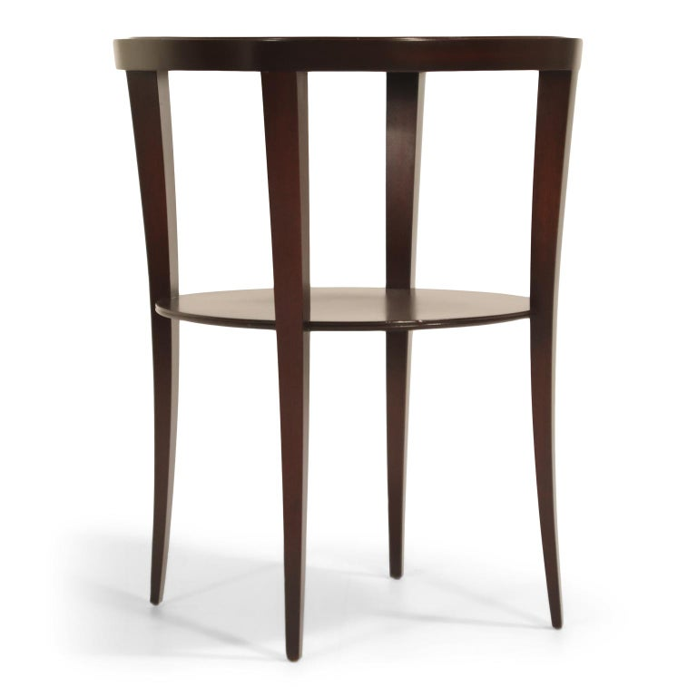 American Tommi Parzinger for Charak Modern Mahogany and Burgundy Leather Side Table For Sale