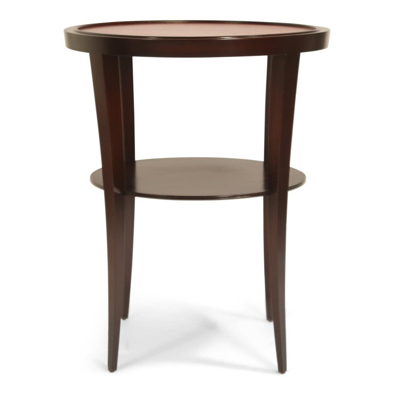 Tommi Parzinger for Charak Modern Mahogany and Burgundy Leather Side Table In Excellent Condition For Sale In Los Angeles, CA