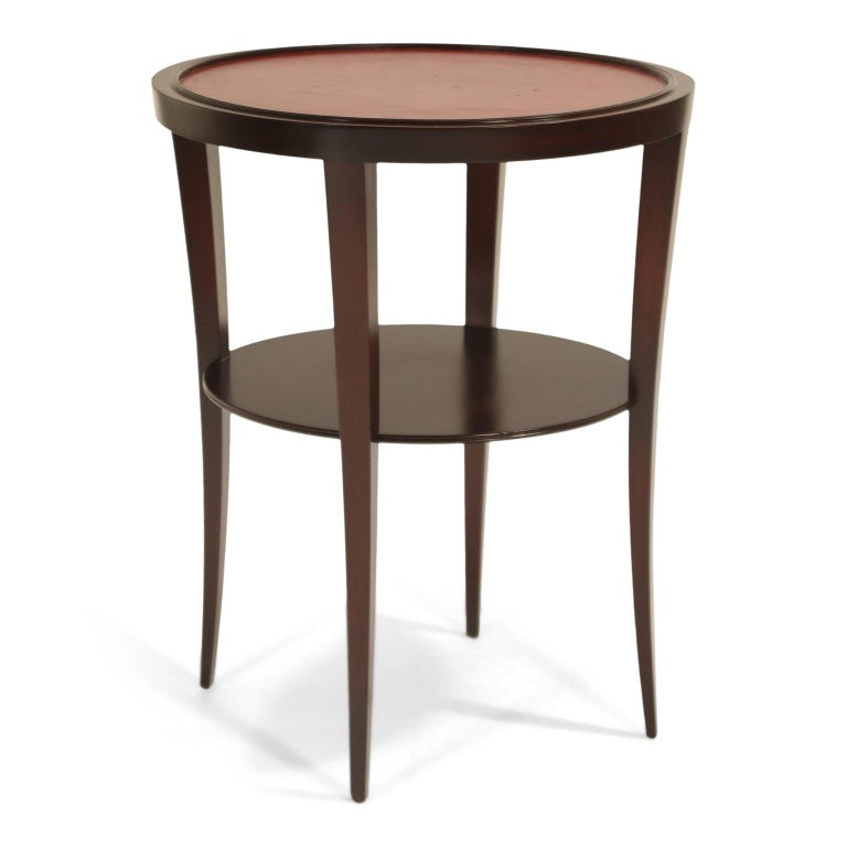 Mid-20th Century Tommi Parzinger for Charak Modern Mahogany and Burgundy Leather Side Table For Sale