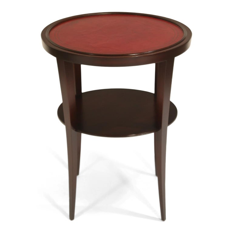 Tommi Parzinger for Charak Modern Mahogany and Burgundy Leather Side Table For Sale 1