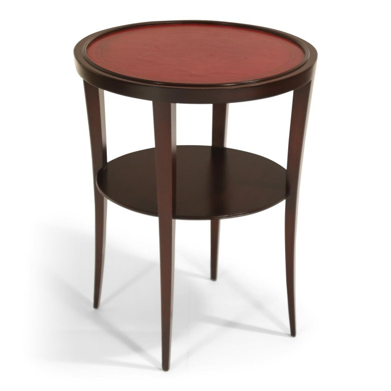 Tommi Parzinger for Charak Modern Mahogany and Burgundy Leather Side Table For Sale 2