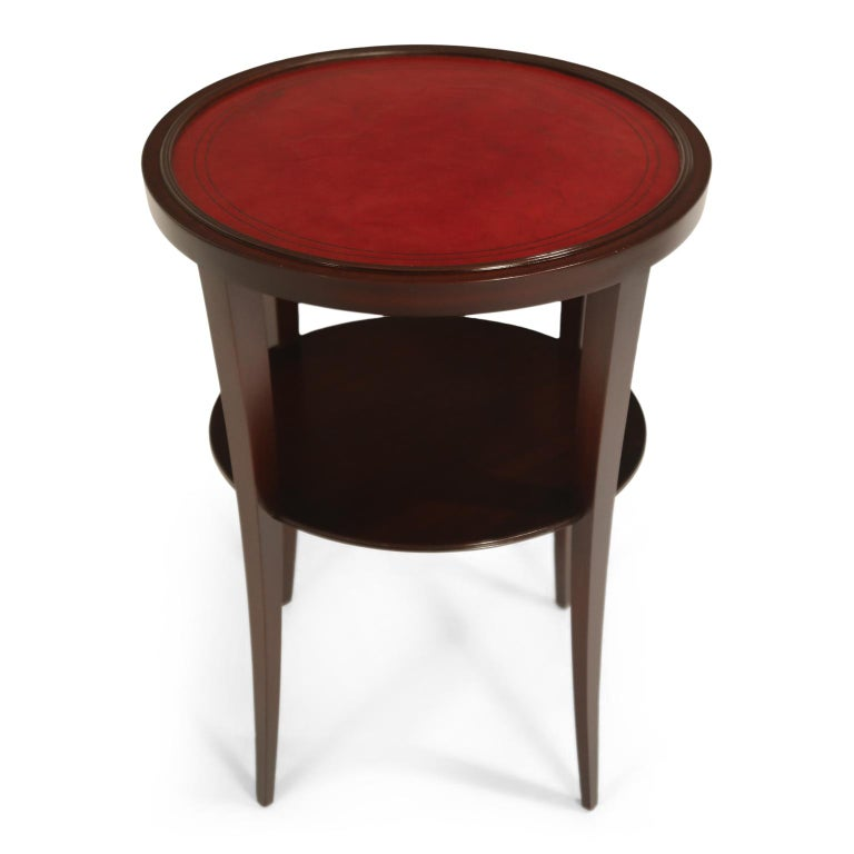 Tommi Parzinger for Charak Modern Mahogany and Burgundy Leather Side Table For Sale 3