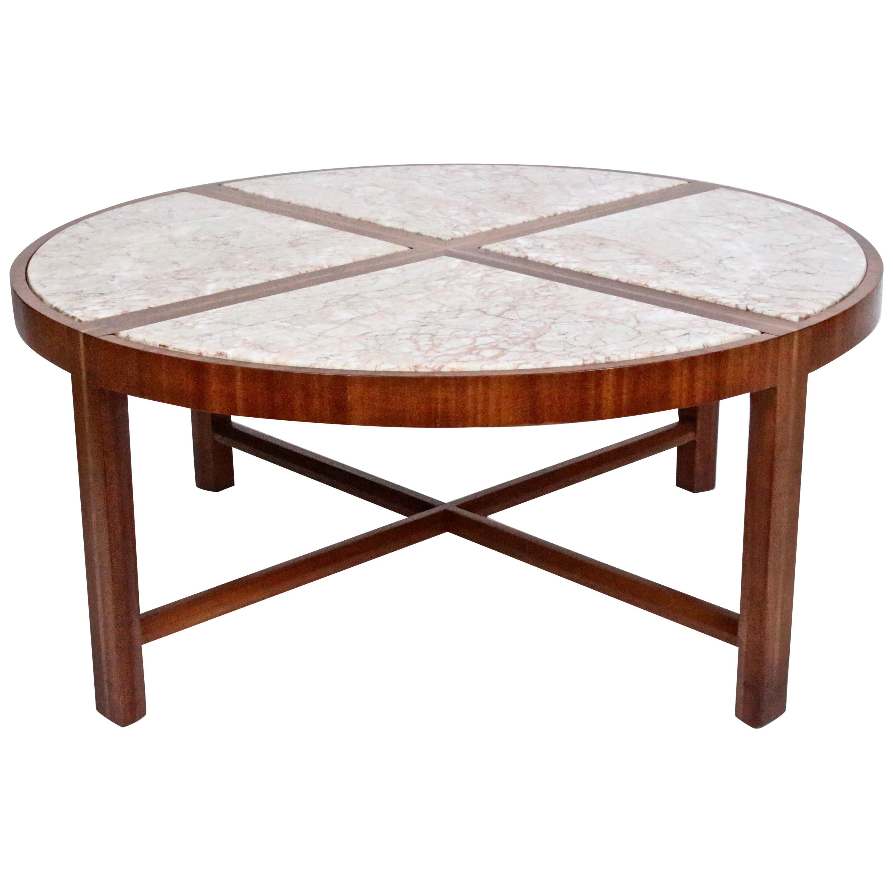 Tommi Parzinger for Charak Modern Mahogany and Marble Coffee Table