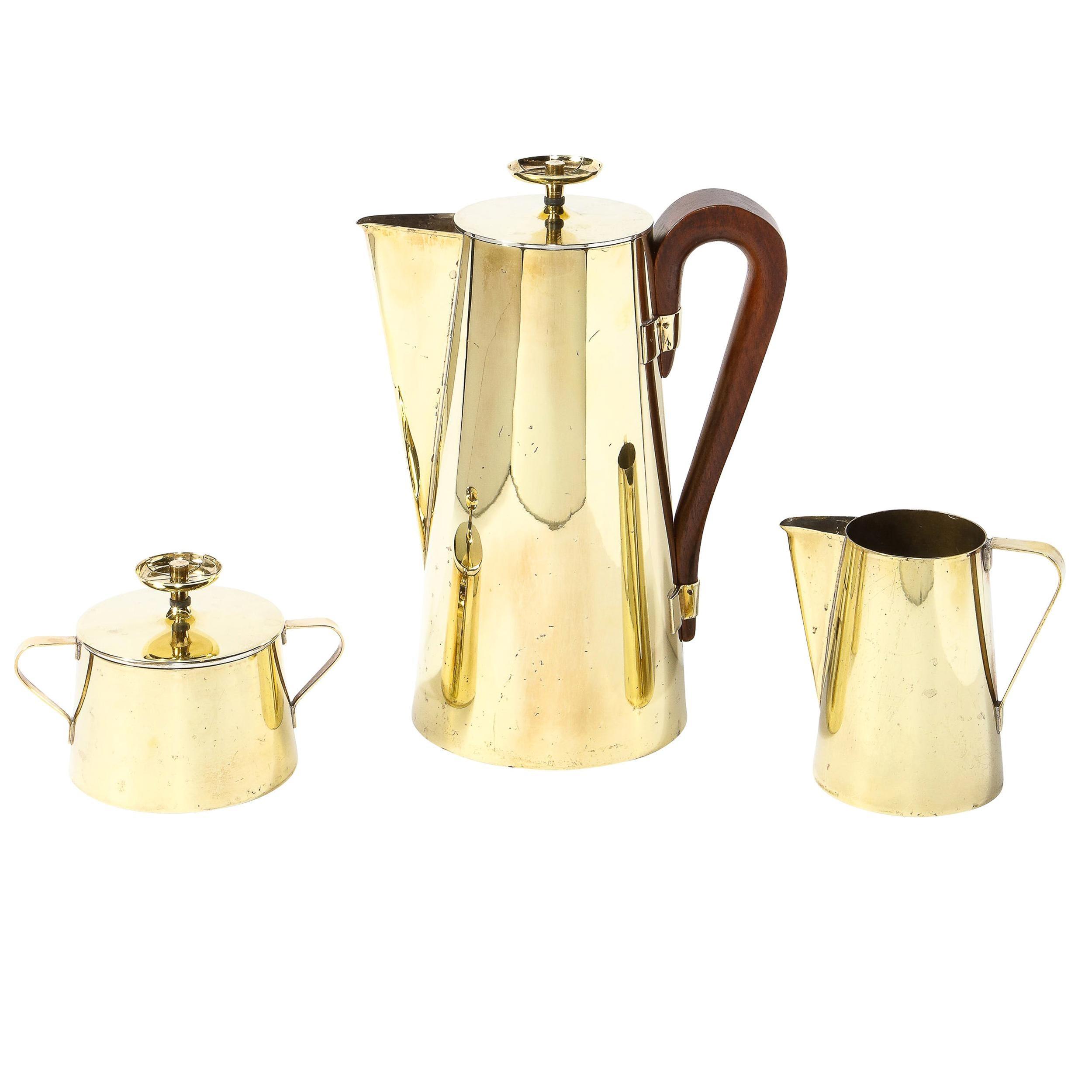 Tommi Parzinger for Dorlyn Silversmiths Tea Service in Polished Brass & Walnut