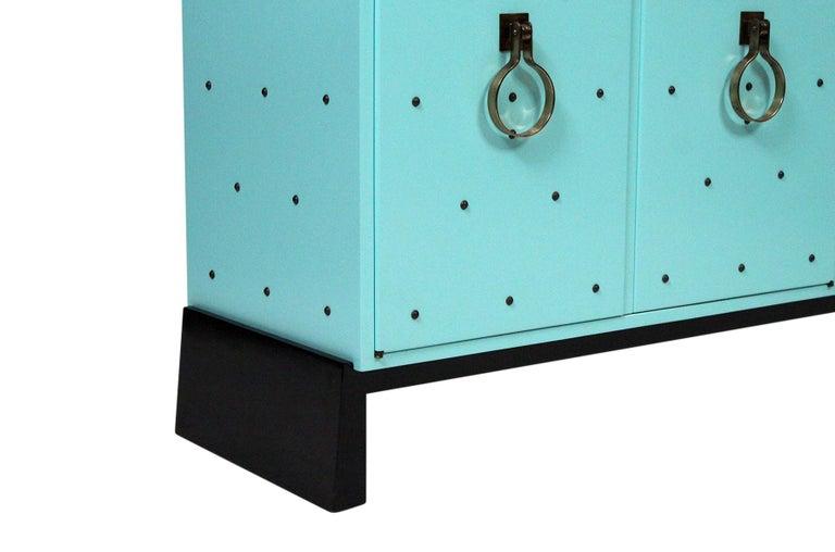 Brass Tommi Parzinger for Parzinger Originals Studded Cabinet For Sale