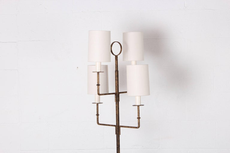 Mid-20th Century Tommi Parzinger Gilt-Iron Floor Lamp For Sale